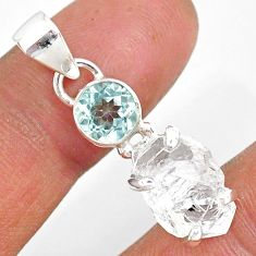 9.67cts natural white herkimer diamond topaz 925 sterling silver pendant r87793