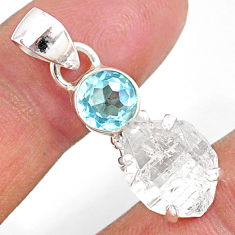 10.08cts natural white herkimer diamond topaz 925 sterling silver pendant r87794