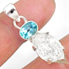 13.08cts natural white herkimer diamond topaz 925 sterling silver pendant r87798