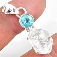 12.19cts natural white herkimer diamond topaz 925 sterling silver pendant r87800
