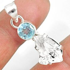 11.10cts natural white herkimer diamond topaz 925 sterling silver pendant r87802