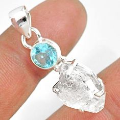 12.66cts natural white herkimer diamond topaz 925 sterling silver pendant r87806