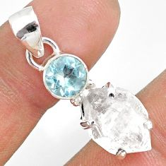 10.48cts natural white herkimer diamond topaz 925 sterling silver pendant r87816
