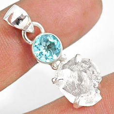 10.48cts natural white herkimer diamond topaz 925 sterling silver pendant r87820