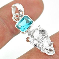 12.71cts natural white herkimer diamond topaz 925 sterling silver pendant t49504