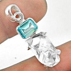 13.08cts natural white herkimer diamond topaz 925 sterling silver pendant t49760