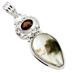 17.42cts natural white marcasite in quartz smoky topaz 925 silver pendant d44233