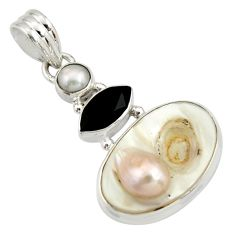 13.66cts natural white mother of pearl onyx 925 sterling silver pendant r27392