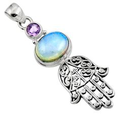 6.24cts natural white opalite 925 silver hand of god hamsa pendant r52830