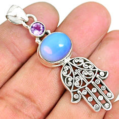 6.92cts natural white opalite 925 silver hand of god hamsa pendant r90369