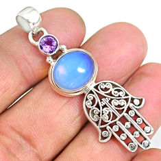 6.23cts natural white opalite 925 silver hand of god hamsa pendant r90391
