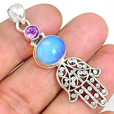 5.46cts natural white opalite 925 silver hand of god hamsa pendant r90392