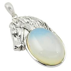 Natural white opalite 925 sterling silver horse pendant jewelry c21616