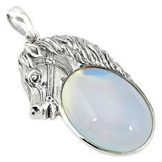 Natural white opalite oval 925 sterling silver horse pendant jewelry c22584