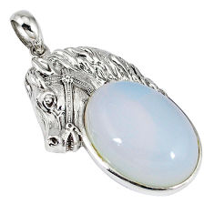 Natural white opalite oval 925 sterling silver horse pendant jewelry c22592