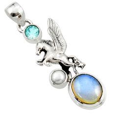 6.35cts natural white opalite topaz pearl 925 silver unicorn pendant r52732