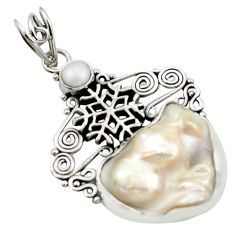 18.47cts natural white pearl 925 silver snow flake pendant jewelry d46619