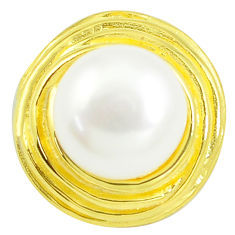 7.22cts natural white pearl 925 sterling silver 14k gold pendant jewelry c24037
