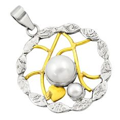 Clearance Sale- 6.20cts natural white pearl 925 sterling silver 14k gold pendant jewelry d45680