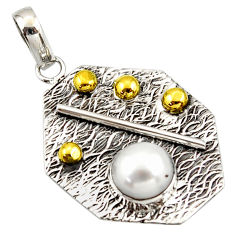 3.14cts natural white pearl 925 sterling silver 14k gold pendant jewelry r37177