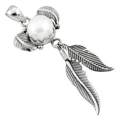 5.62cts natural white pearl 925 sterling silver dreamcatcher pendant r67675
