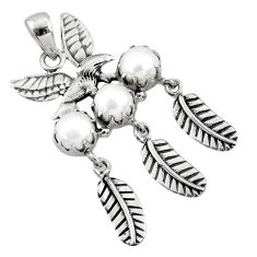 3.63cts natural white pearl 925 sterling silver dreamcatcher pendant r67734