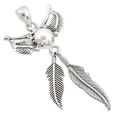 3.12cts natural white pearl 925 sterling silver dreamcatcher pendant r67795