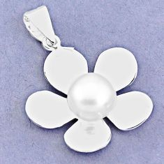 5.52cts natural white pearl 925 sterling silver flower pendant jewelry c23861