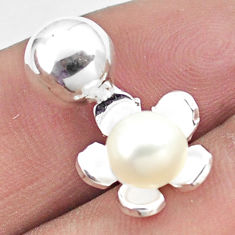 2.28cts natural white pearl 925 sterling silver flower pendant jewelry c25643