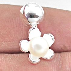 2.49cts natural white pearl 925 sterling silver flower pendant jewelry c25671
