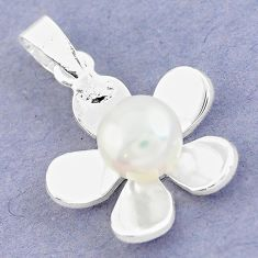 Natural white pearl 925 sterling silver flower pendant jewelry c25719