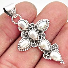 7.17cts natural white pearl 925 sterling silver holy cross pendant r35049