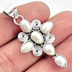 8.75cts natural white pearl 925 sterling silver holy cross pendant r35058