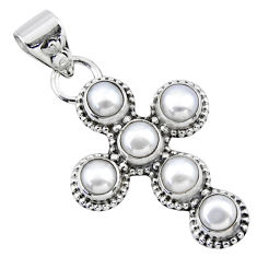 5.83cts natural white pearl 925 sterling silver holy cross pendant r55912