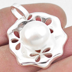 7.22cts natural white pearl 925 sterling silver pendant jewelry c23791