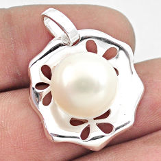 12.04cts natural white pearl 925 sterling silver pendant jewelry c23795