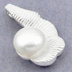 Natural white pearl 925 sterling silver pendant jewelry c23852