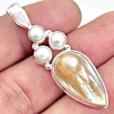 13.24cts natural white pearl 925 sterling silver pendant jewelry d43986