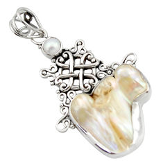 19.00cts natural white pearl 925 sterling silver pendant jewelry d46618