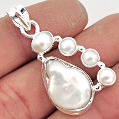 14.81cts natural white pearl 925 sterling silver pendant jewelry r43071