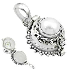 2.42cts natural white pearl 925 sterling silver poison box pendant t52640
