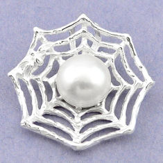 Natural white pearl 925 sterling silver spider web pendant jewelry c23850