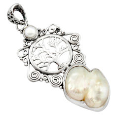 15.44cts natural white pearl 925 sterling silver tree of life pendant d46698