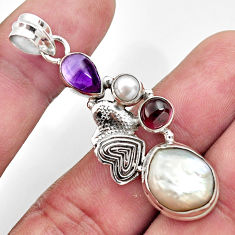 Clearance Sale- 10.89cts natural white pearl amethyst 925 silver couple hearts pendant d43923