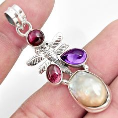 Clearance Sale- 12.34cts natural white pearl amethyst 925 silver dragonfly pendant d43939
