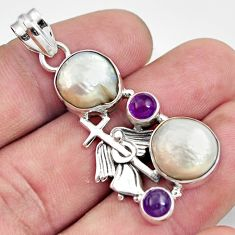 16.09cts natural white pearl amethyst 925 silver holy cross pendant d43925