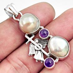 14.45cts natural white pearl amethyst 925 silver holy cross pendant d43933