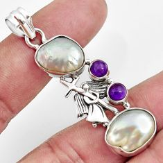 15.11cts natural white pearl amethyst 925 silver holy cross pendant d43934