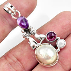 Clearance Sale- 11.97cts natural white pearl amethyst 925 silver two cats pendant d43921