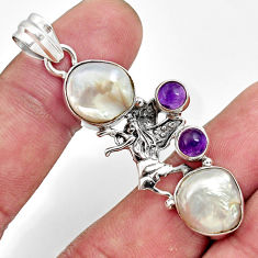 12.70cts natural white pearl amethyst 925 sterling silver angel pendant d43929